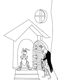 The Ant And Grasshopper2 Coloring Page