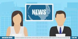 News Anchor On TV Breaking Background Vector Illustration In Flat Design Royalty Free