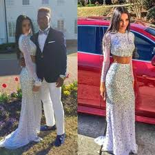 2 pieces prom dresses mermaid evening gowns white prom gowns 2017