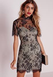 lace short sleeve bodycon dress black missguided