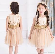 Pretty Champagne Boat Neck Flower Girl Dresses Custom Made Zipper