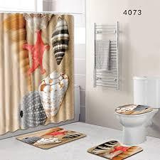 yonganuk 4 stk set badezimmer dusche zubehör rutschfest podest teppich deckel toilette deckel badematte duschvorhang mit 12 haken für badezimmer