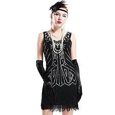 BABEYOND Womens Flapper Dresses 1920s V Neck Beaded Fringed Great Gatsby Dress Large Black