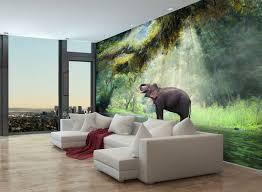 fototapete urwald mit elefant fototapeten tapete wandbild dschungel wasser fluss m5722