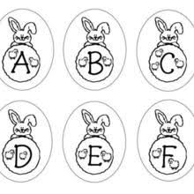 Bunny Letters ABCDEF Coloring Page