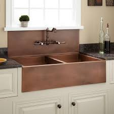 Light Brown Kitchen Walls With Double Copper Farmhouse Sink And Wall Mounted Bronze Faucet Also