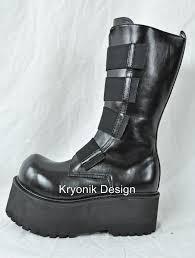 demonia combat 208 goth gothic cyber black platform mid calf boots