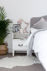 Blush Grey And White Bedroom With Gold Accents