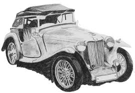 Vintage Car Drawing By Catherine Roberts