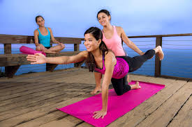Download Beautiful Model Female Woman Yoga Pose Personal Trainer Class Instructor Friends Retreat Stock Photo