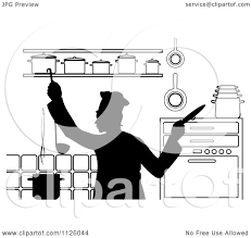 Clipart Of A Black And White Chef Cooking In Kitchen 2 Royalty Free Vector Illustration