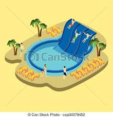 Pool Slide Illustration Of A Kid Playing In The Side Vector