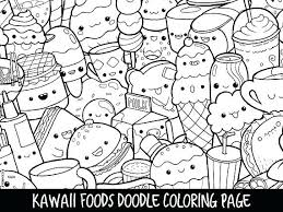 Kawaii Coloring Pages Foods Doodle Page Printable Cute For Kids And Adults