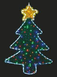 100 X 70cm Christmas Tree Rope Light Silhouette With Tinsel