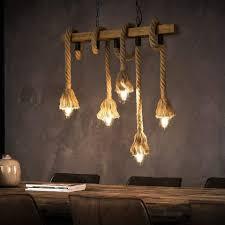 zmh led pendelleuchte aus holz 5 flammig e27 70cm länge rustikal hängeleuchte industrielle kronleuchter für wohnzimmer esszimmer restaurant café