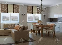 moderne wohnzimmer mit esszimmer und küche 3d darstellung foto hinter dem fenster wurde mir gemacht
