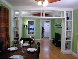 Amazing Room Separator Ideas With Green Paint Wall And Wooden Dining Table White Door For Interior Design Partition