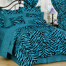 Blue and Black Twin XL Zebra Print Bed in a Bag