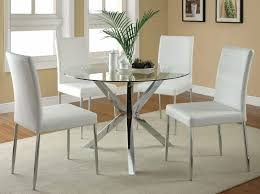 Silver Metal And Glass Dining Table Set Also Four Lovely White Chairs