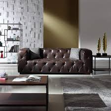 Large Tufted Leather Chesterfield Sofa Dark Brown Tufted