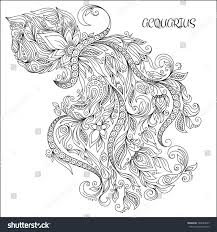 Pattern For Coloring Book Hand Drawn Line Flowers Art Of Zodiac Aquarius Horoscope Symbol