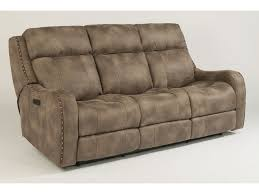 flexsteel living room fabric power reclining sofa with power headrests
