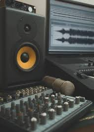 Mixer Condenser Microphone And Professional Monitor Concept Of Home Music Studio Stock Photo
