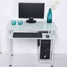 Computer Table At Walmart by Rolling Computer Desk Glass And Silver Colored Metal Walmart In