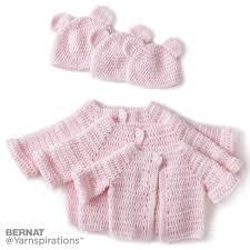 bernat crochet baby jacket set crochet pattern yarnspirations