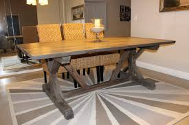 DIY Trestle Solid Wood Farmhouse Dining Table With Glass Candle Holder And 3 Rattan Chairs High Back For Small Rustic Room Spaces Ideas