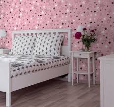 rosa sterne schlafzimmer tapete