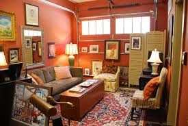 Small DIY Garage Makeover Into Bedroom Design With Red Painted Wall Interior Color Decor Plus Floor Carpet Tiles And Old Vintage Wooden Table Fabric