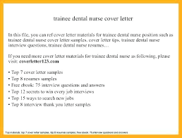 Free Sample Cover Letter For Resume Nursing Feat Student Application Trainee Dental Nurse