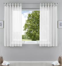 2er pack gardinen transparent vorhang set wohnzimmer voile schlaufenschal mit bleibandabschluß hxb 175x140 cm weiß 61000cn