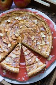 Rustic Apple Tart With Buttery Crust Almond Cream Cheese Filling And Sweet Glaze