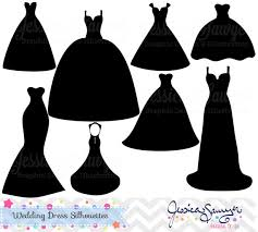 Wedding dress clipart silhouette clipart for greeting cards announcements scrapbooking