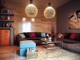 warm living room color with rattan seating furinture and sofa