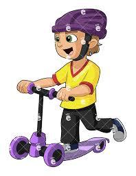 A Joyful Little Boy Riding Scooter And Wearing Helmet
