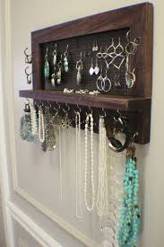 Rustic Dark Cherry Stained Wall Mounted Jewelry Organizer Display Necklace