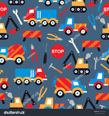 Seamless Under Construction Crane Trucks Digger Stock Vector ...