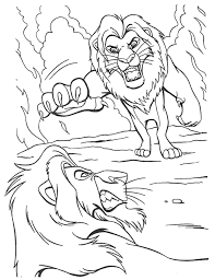 Download Print Simba Fighting Scar The Lion King Coloring Page