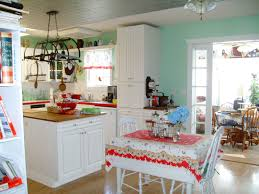 Great White Themes Vintage Kitchen With Cabinets Set Also Breakfast Table In Open Design Sideas