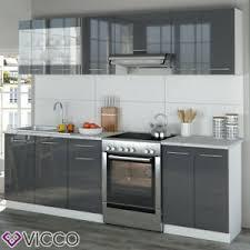 details zu vicco küche raul küchenzeile küchenblock einbauküche 240 cm anthrazit hochglanz