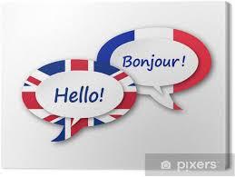 leinwandbild englisch französisch translation sprache sprechblasen ballons