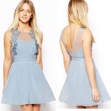 latest light blue sleeveless fashion petite party dresses for