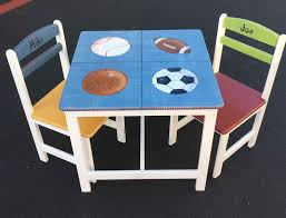 Sports Table & Chair Set, Hand Painted Children's Furniture ... Little Kids Table And Chairs Children Oneu0027s Costzon Kids Table Chair Set Midcentury Modern Style For Toddler Children Ding 5piece Setcolorful Custom Made Childrens Wooden And By Fast Piper 4 Chairs 5 Piece Pieces Includes 1 Activity 26 Years Playroom Fniture Costway Wood Colorful Rakutencom Frozen With Storage Dinner Amazoncom Delta U0026 Simple Her Tool Belt