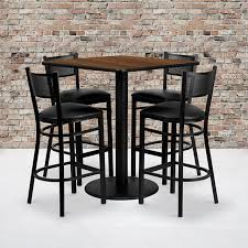 36'' Square Walnut Laminate Table Set With 4 Grid Back Metal Barstools -  Black Vinyl Seat Steel Ding Room Chairs Kallekoponnet Modern Narrow Table Set Cute With Photo Of 36 Round Natural Laminate With Xbase And 4 Ladder Back Metal Black Vinyl Seat 2 Ding Tables 8 Chairs In Metal Black Retro Design Square Walnut Grid Barstools Amazoncom Shing Wood Laneberg Svenbertil Brown Lucano Marble Leather Mesmerizing Iron Legs Reclaimed Base 5 Piece Kitchen Tag Archived Of Polyurethane Likable Pcs Table