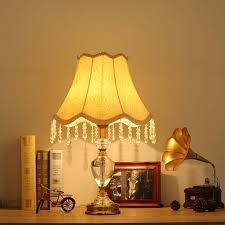 Crystal Table Lamps For Bedroom by Luxury Modern Crystal Table Lamp Fabric Lampshade Light Living
