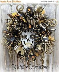 Grandin Road Halloween Wreath by Price Reduced Sugar Skull Wreath Day Of The Dead Wreath Dia De