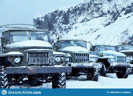 100 Trucks In Snow A Collection Of Old Trucks Stock Photo Image Of Cars 128097958